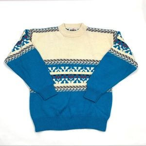 VTG 80s Obermeyer Sports Viking Style Wool Sweater